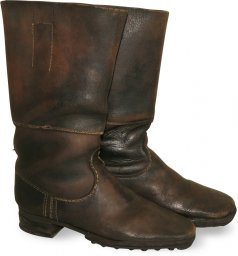 WWII German soldier's brown leather long combat boots for Wehrmacht, Luftwaffe or Waffen SS